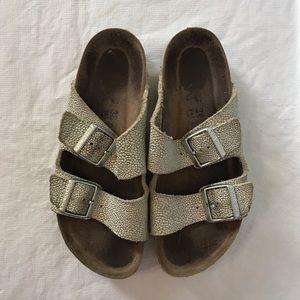 Birkenstock Arizona Silver Pebbled Sandals